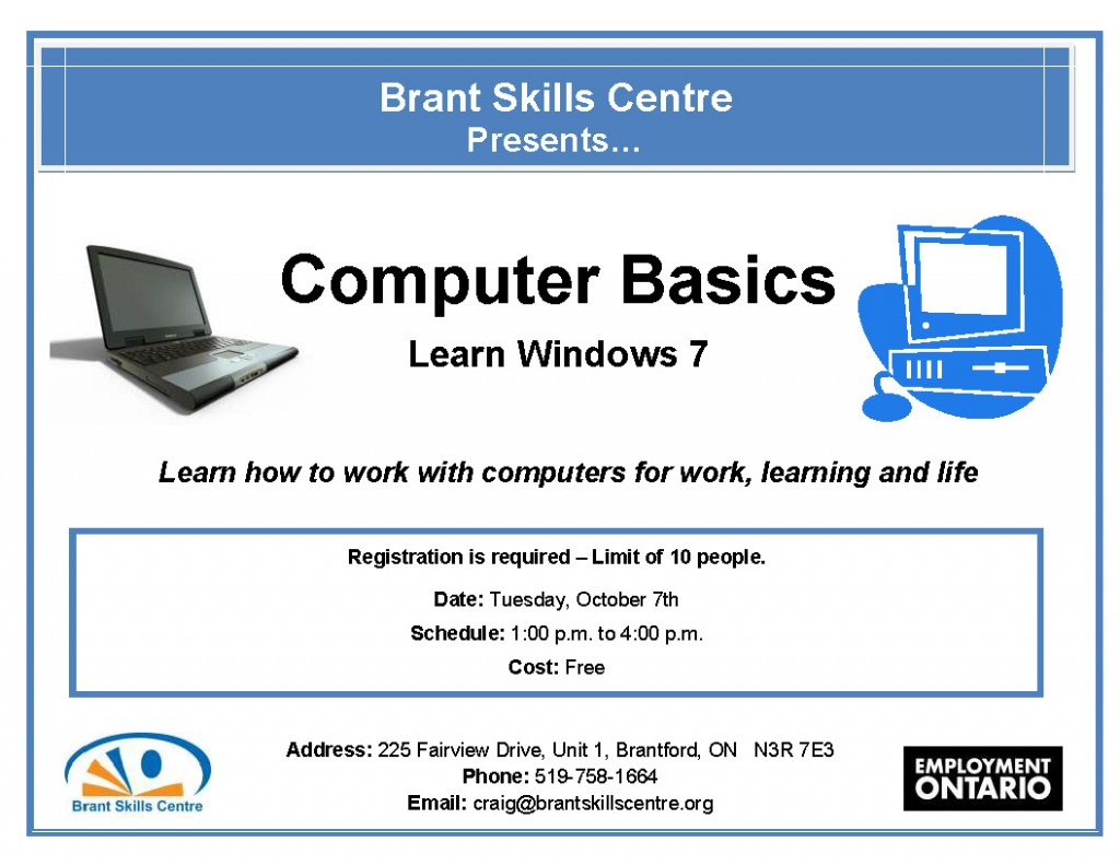 Computer Basics Brant Skills Centre