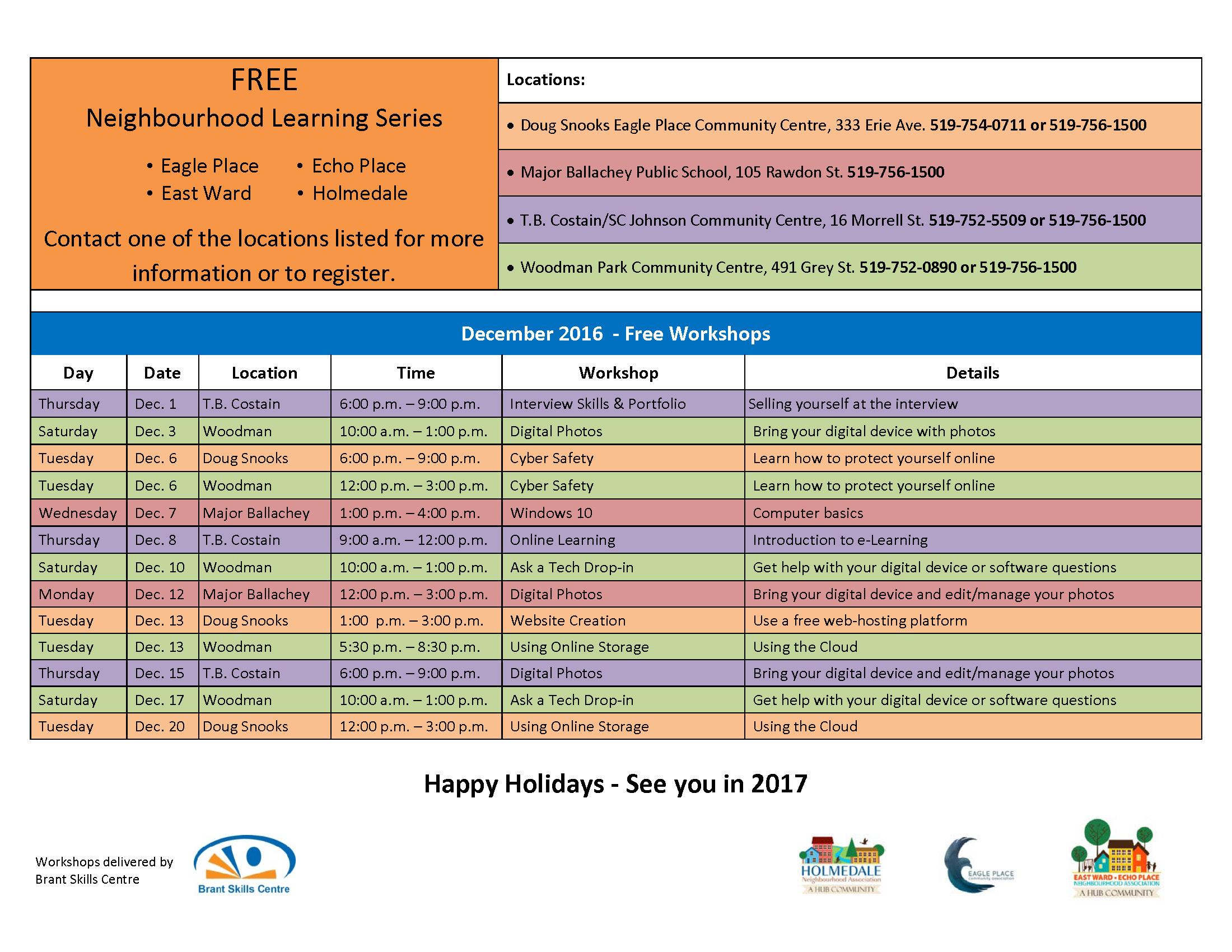 Free Learning Series Workshops – Brant Skills Centre
