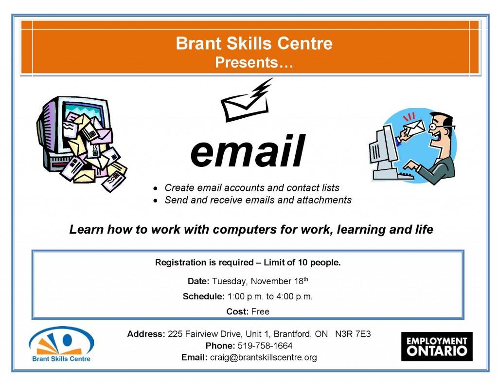 Email Brant Skills Centre Nov. 18